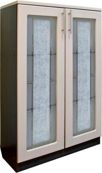 Шкаф для документов низкий, 2-х дверный (стекло)